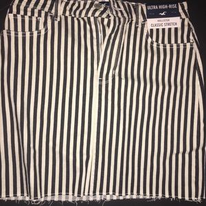 Black and white striped denim skirt NWT